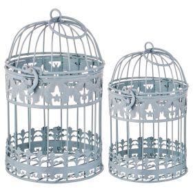 Набор клеток для птиц декоративных из 2-х шт.l:13*13*21,s:11*11*18 см-123-227