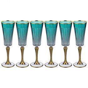 Набор бокалов для шампанского из 6 шт. 180 мл. высота=24 см.-103-546