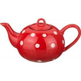 Заварочный чайник 450 мл.горошек белый на красном-470-314