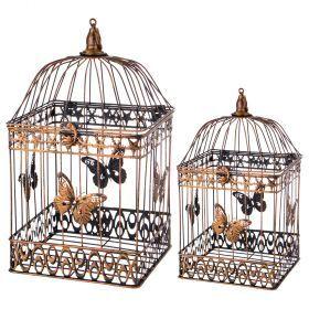 Набор клеток для птиц декоративных из 2-х шт.l:23*23*42,s:18*18*32 см-123-216