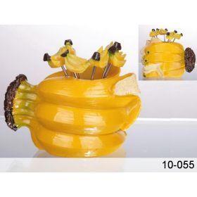 Набор для канапебанан:подставка + 6 вилочек.высота=6 см длина=9 см