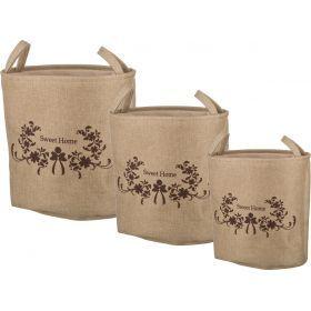 Набор корзин для белья с ручками и завязками из 3-х шт l: 45*33*42/m:40*29*39/s:36*26*37 см.(кор=2н