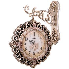 Часы настенные кварцевые с двойным циферблатом 45*13*60 см. диаметр циферблата=22 см.-204-199