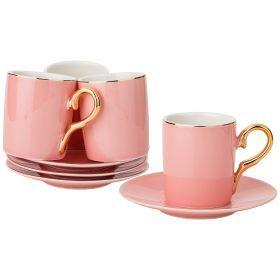 Кофейный набор на 4пер. 8пр. 90мл, розовый (кор=12наб.)-91-061