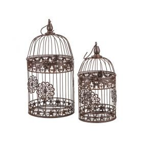 Набор клеток для птиц декоративных из 2-х шт.l:19*19*38,s:15*15*30 см-123-144