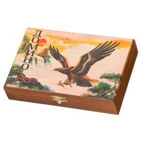 Домино  в шкатулке летящий орел 21х13х5 см, дерево, латунь, пластик