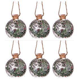 """Декоративное изделие """"шар зимний лес"""" с подсветкой диаметр=8 см-862-225(Товар продается кратно  6шт.)"""