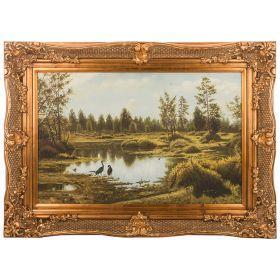 Картина масляная на холсте 88*61 см. багет 114*84 см.-107-1077