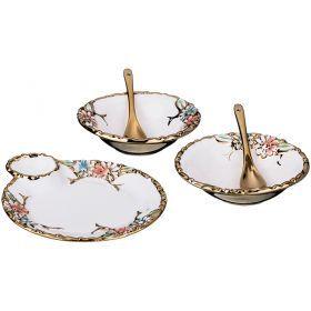 Набор для сервировки стола: блюдо 17*15*2 см.розетка  диаметр=12 см.-2 шт.ложка -2 шт. (кор=16набор.-793-048