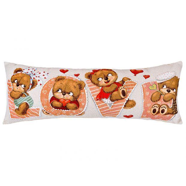 "Подушка 90 х35 ""мишка любовь"" , гобелен,100% хлопок-850-901-77"