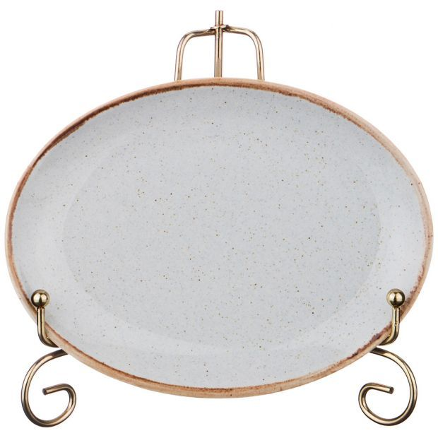 Тарелка seasons 18*14 см овальная цвет серый (кор=6шт.)-664-168