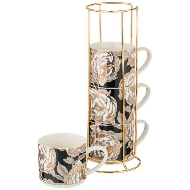 """Набор кружек """"golden rose"""" 4 шт. на металл.подставке 360мл, черный (кор=8наб.)-133-324"""