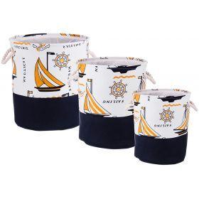 Набор корзин для белья с ручками из 3-х шт l: ф40*42/m:ф36*39/s:ф32*37 см.-190-188