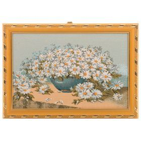 Гобеленовая картина роскошный белый букет 29х21см.