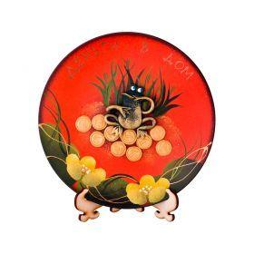 Тарелка декоративная денежная лягушка на оранжевом фоне диаметр=20 см-135-5037
