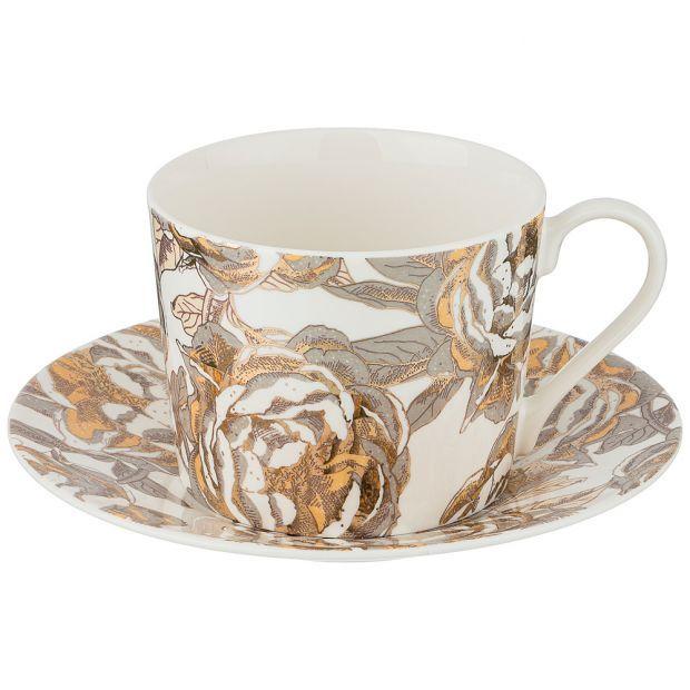 "Чайный набор ""golden rose"" на 1пер. 2пр 240мл, белый (кор=12наб.)-133-309"
