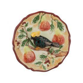 Тарелка декоративная птица на грушевой ветке диаметр=12 см.
