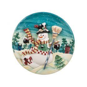 Тарелка настенная декоративная снеговикдиаметр=20,5 см.