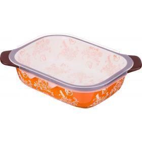 Блюдо для запекания с пластиковой крышкой 22*17 см. высота=7 см.-536-191