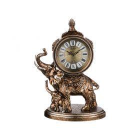 Часы настольные кварцевые слониха со слоненком цвет: бронза 28,5*16,5*40 см. диам. цифербл.=14 см.