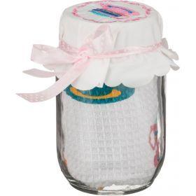 Полотенце вафельное 40*60 см., 100% хлопок + баночка для коктейля с трубочкой 500 мл.-825-031