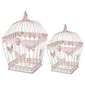 Набор клеток для птиц декоративных из 2-х шт.l:23*23*37,s:18*18*30 см-123-215