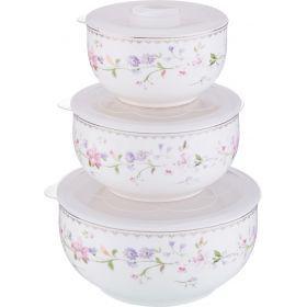 Набор контейнеров для пищевых продуктов из 3 шт. 1000/800/300 мл. диаметр=15/13/10 см. (кор=12набор.-274-838