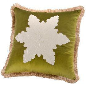 Подушка декоративная 46*46 см, снежинка п/э 100%, зеленая
