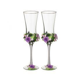 Набор свадебных бокалов из 2-х шт. бело-сиреневый букет 180 мм.  ручная работа лепка