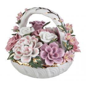 Декоративное изделие букет цветов в корзинке  высота=13 см.