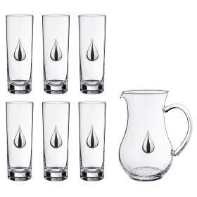 Набор для сока: кувшин + 6 стаканов 1400/350 мл. высота=17 см. высота=20 см.-307-097