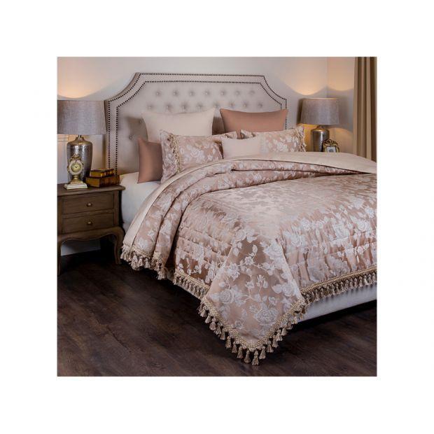 """Комплект на кровать из покрывала и 2-х наволочек """"версаль"""",бежевые розы ,250х230,50х70,100% полиэстр-850-900-92"""