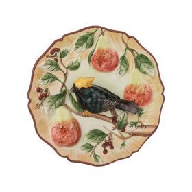 Тарелка декоративная птица на грушевой ветке диаметр=20 см. высота=5 см.