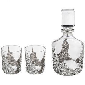 Набор для виски 3 пр.: штоф+2 стакана 1000/300 мл. высота=25/10 см.-103-567