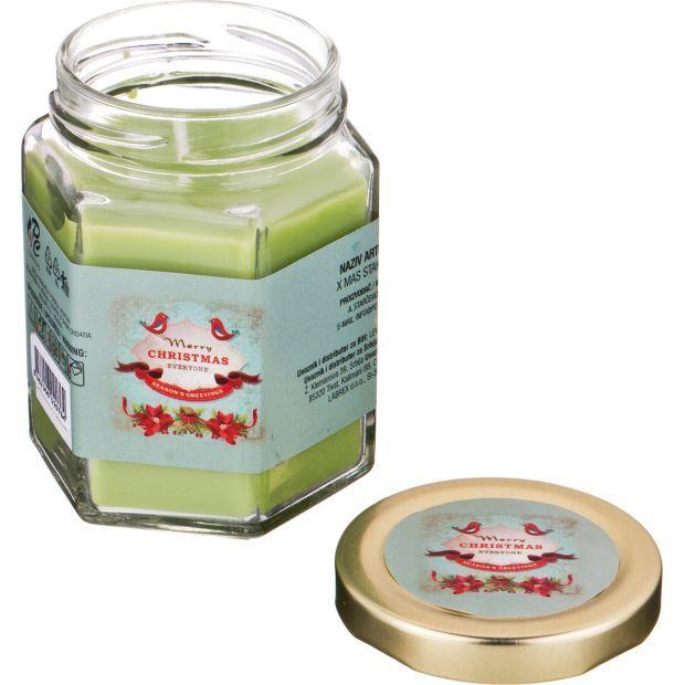 """Ароматическая свеча в банке """"magic"""" диаметр=7 см. высота=9 см. цвет зеленый-602-076"""