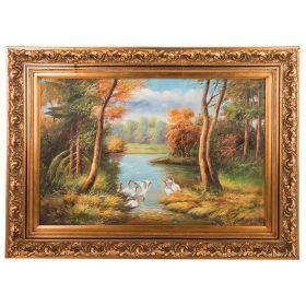 Картина масляная на холсте 89*59 см. багет 114*86 см.-107-1074