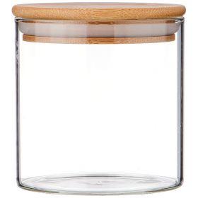 Емкость для сыпучих продуктов 600 мл. с бамбук.крышкой диаметр=10 см. высота=10 см. (кор=48шт.)-250-145