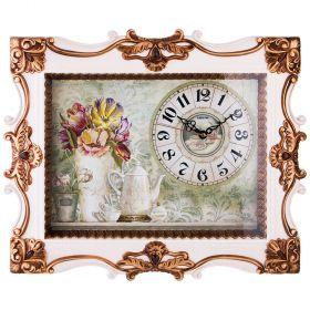 Картина с часами в раме цвет: белый с золотом 50*5,5*40 см. диаметр циферблата=18 см. (кор=6 шт.)-204-212