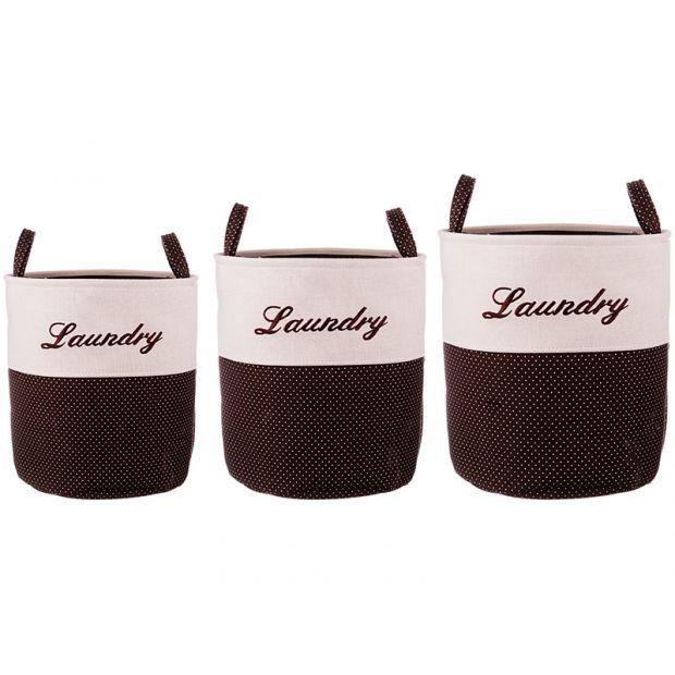 Набор корзин для белья с ручками из 3-х шт l: ф40*42/m:ф36*39/s:ф32*37 см.-190-181