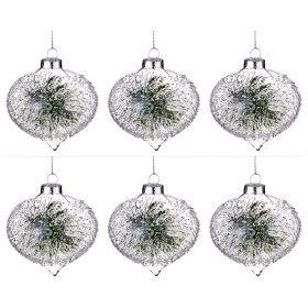 """Декоративное изделие """"шар зимний узор"""" диаметр=8 см-862-229(Товар продается кратно  6шт.)"""