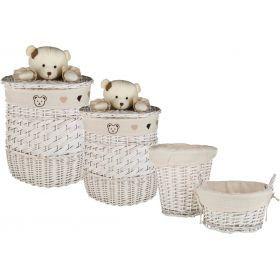 Набор корзин для игрушек круглых из 4 шт.l:ф46*56,m:ф35*40,s:ф26*26,xs:ф26*14 см.