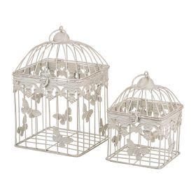 Набор клеток для птиц декоративных из 2-х шт.l:18*18*29,s:14*14*20 см-123-171