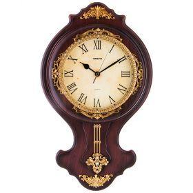 Часы настенные кварцевые с маятником 43*5,5*43 см. диаметр циферблата=19 см.-204-196