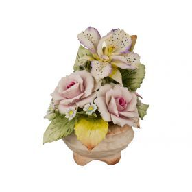 Декоративная корзина с цветами орхидеи 14*14*16 см.