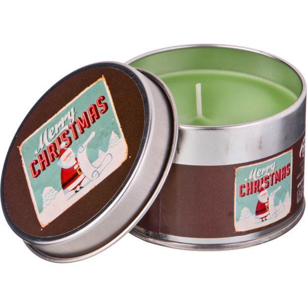 """Ароматическая свеча в жестяной банке """"christmas"""" диаметр=8 см. высота=5 см. цвет зеленый-602-079"""