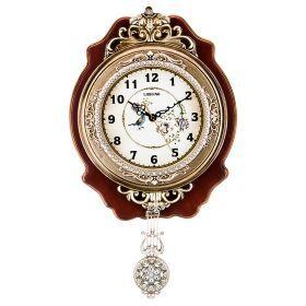 Часы настенные кварцевые с маятником 32*7,5*55 см. диаметр=19 см. (кор=15шт.)-204-229