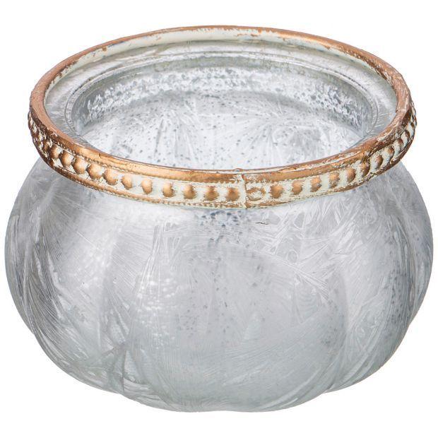 Подсвечник с металл.декором, д=9см, в=5,5см, серебренный перламутр (кор=48шт.)-132-041