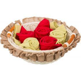 Комплект салфеток в корзинке из 6 шт, 40х40,красный+зелёный, 100% хлопок-850-840-30