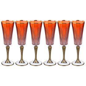 Набор бокалов для шампанского из 6 шт. 180 мл. высота=24 см.-103-532