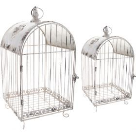 Набор клеток для птиц декоративных из 2 шт.l:28*28*62,m:23*23*45 см (кор=4 шт.)-121-042